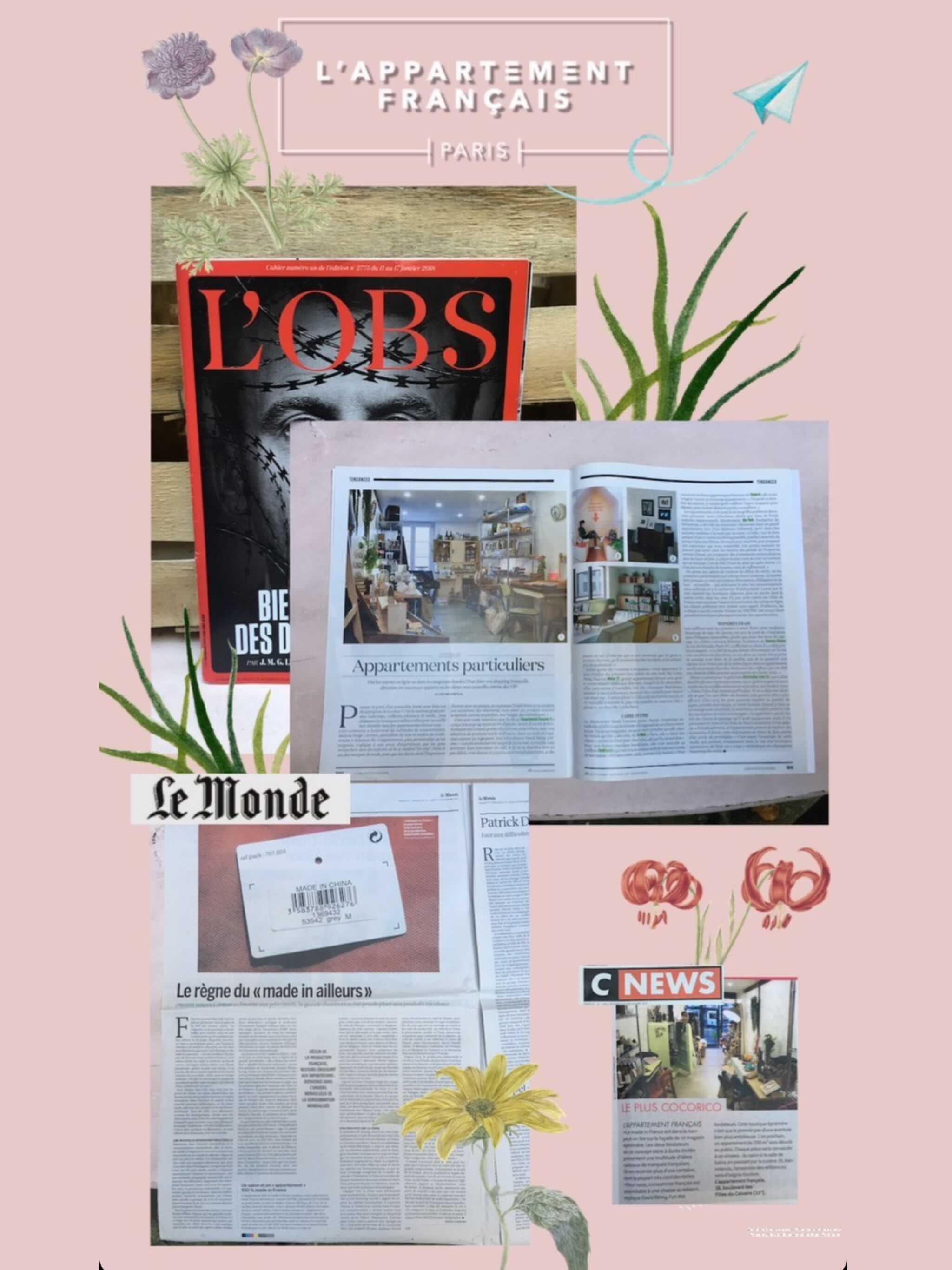 article presse l'obs et le le monde sur l'appartement français et le made in france