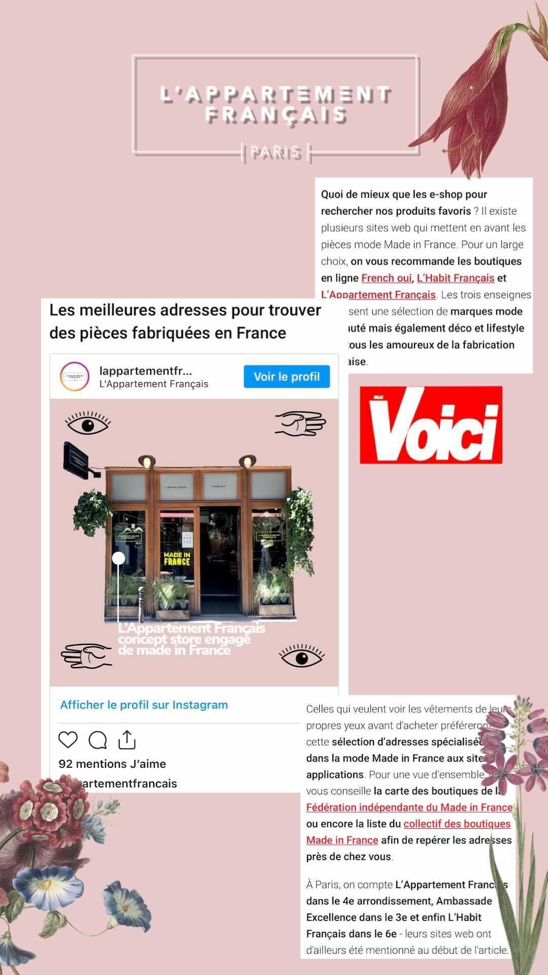 publication presse dans voici made in france l'appartement français